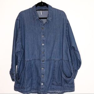 Free People Chambray Oversized Top